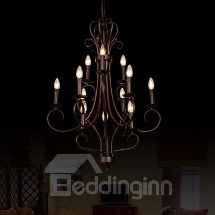 Splendid Bronze Candle-shaped Iron Marerial  12 Lights Chandelier