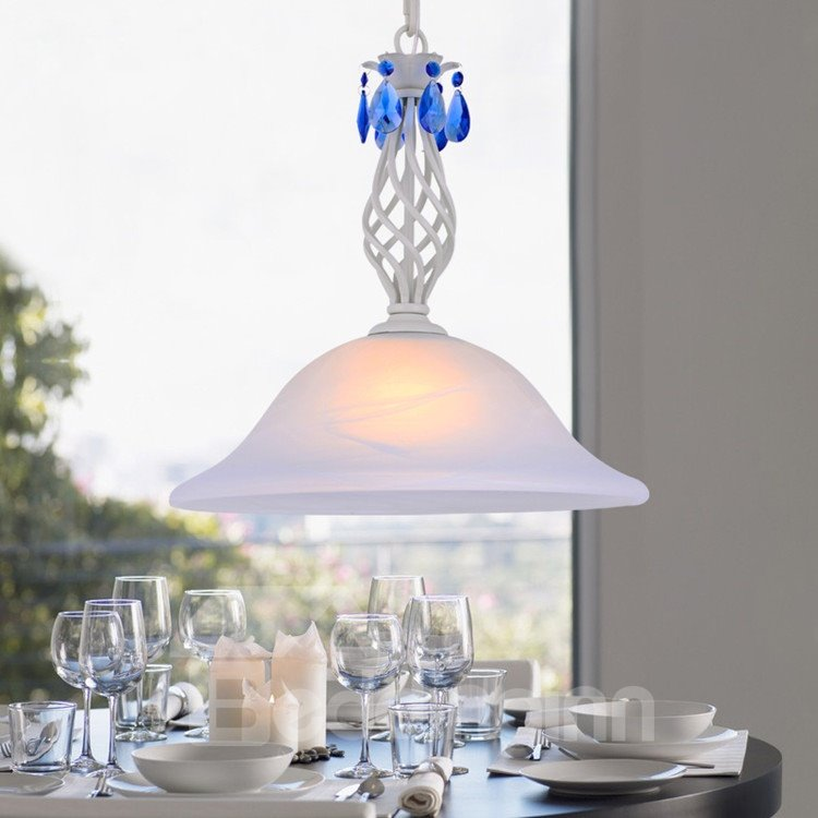Creamy White Iron Material Crystal Glass Shade 1 Light Pendant