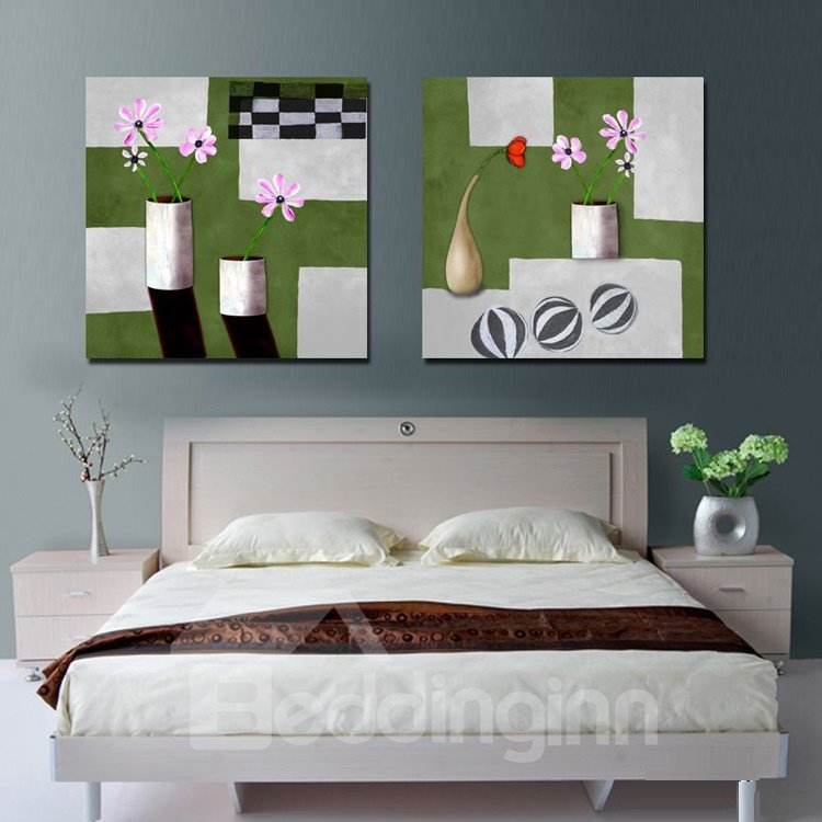 New Arrival Pink and Red Flowers in Bottle Canvas Wall Prints