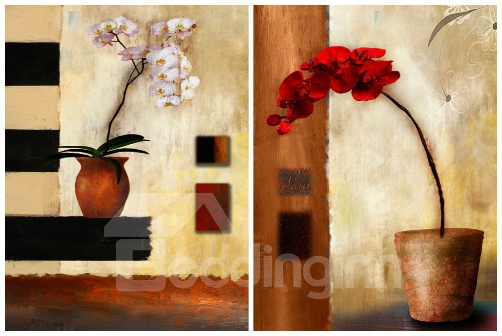 New Arrival  Colorful Flowers in The Pot Canvas Wall Prints