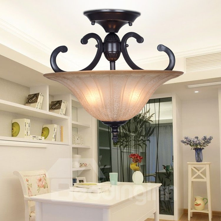 Black Iron Marerial Glass Shade 1 Light Flush Mount