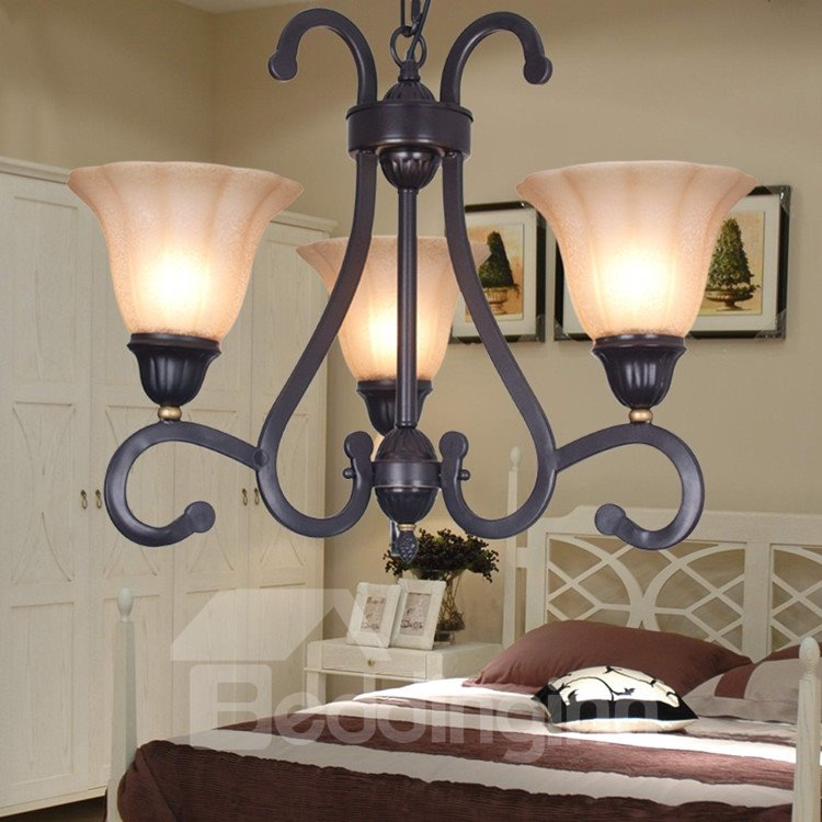 Amazing Bronze Iron Material Glass Shade 3 Lights Chandelier