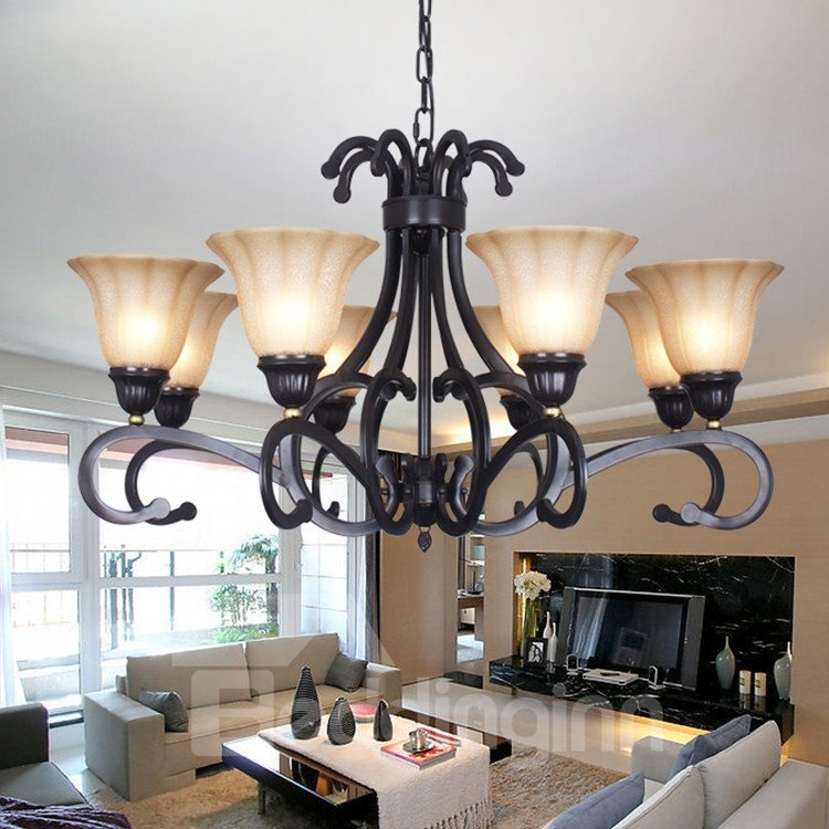 Amazing Bronze Iron Material Glass Shade 8 Lights Chandelier