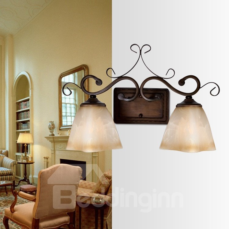 Retro Bronze Iron Material Glass Shade Wall Light