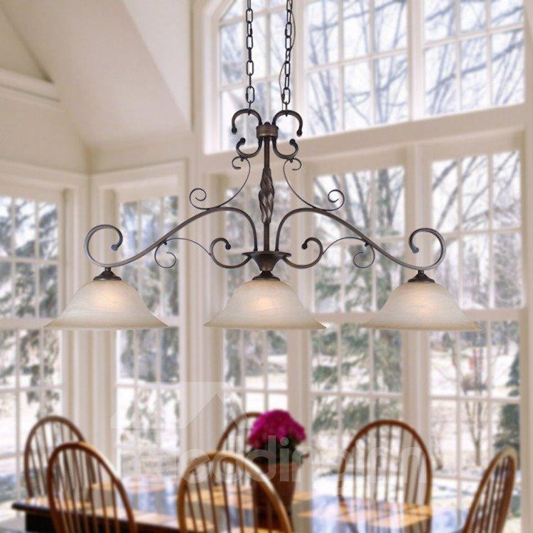 Alluring Bronze Iron Glass Shade 3 Lights Pentant