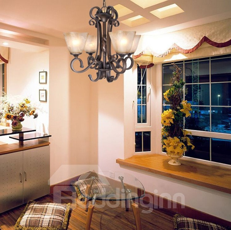 Alluring Bronze Iron Material Glass Shade 4 Lights Chandelier