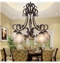 Fantastic Bronze Iron Material Glass Shade 5 Lights Chandelier