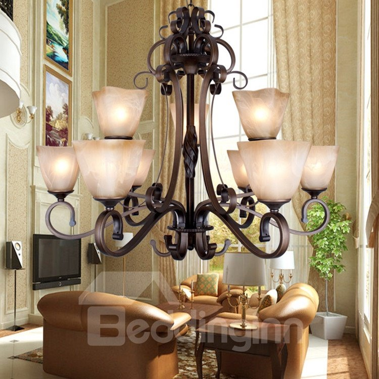 Fantastic Bronze Iron Glass Shade 9 Lights Chandelier