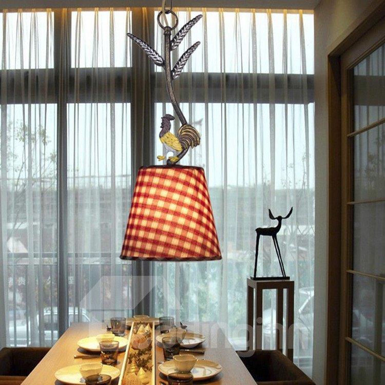 Alluring Antique Iron Fabric Shade 1 Light Pentant