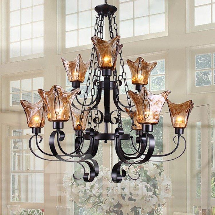 Alluring Matt-black Iron Glass Shade 9 Lights Chandelier