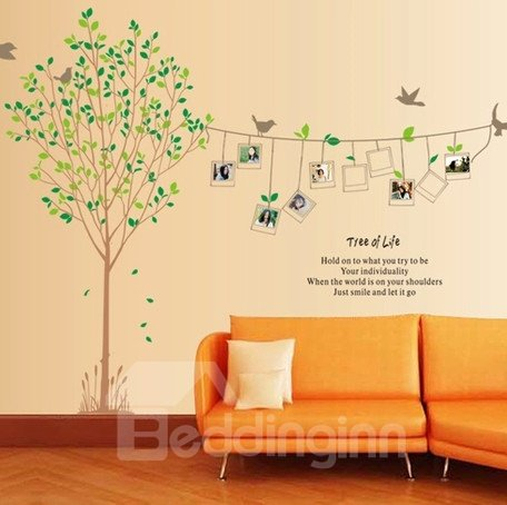 Decorative Tree and Bird of Life with Photo Frame Pattern Wall Stickers
