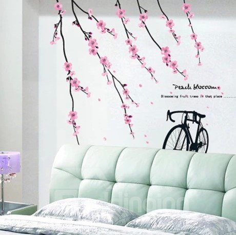 New Arrival Delicate Pink Flowers and Bikes Wall Stickers