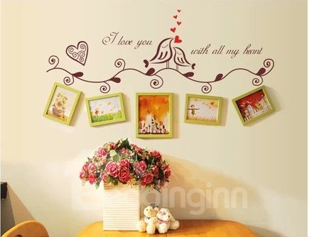 Two Lovely Birds Photo Sets Decoration Wall Stickers