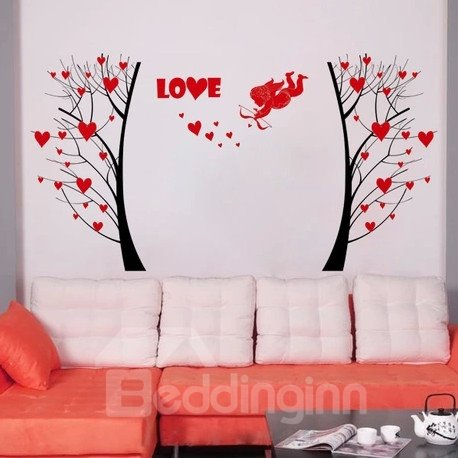 Romantic Red Cupid The God of Love and Tree Pattern Wall Stickers
