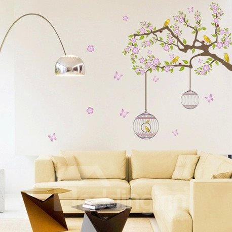 New Arrival Idyllic Style Birds on Flowery Branch and Cages Wall Stickers