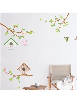 Lovely Country Style Spring Season Flowers and Birds Pattern Wall Stickers