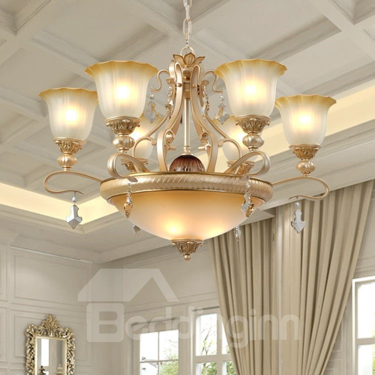 Alluring Resin Crystal Pearly Yellow Glass Shade Pendant Light