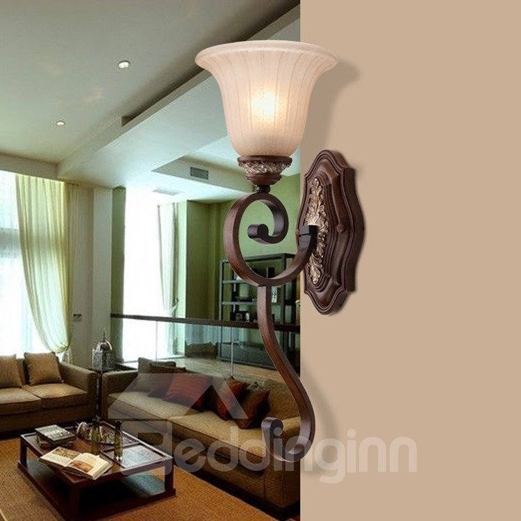 Alluring Antique Resin Iron Glass Shade Wall Light