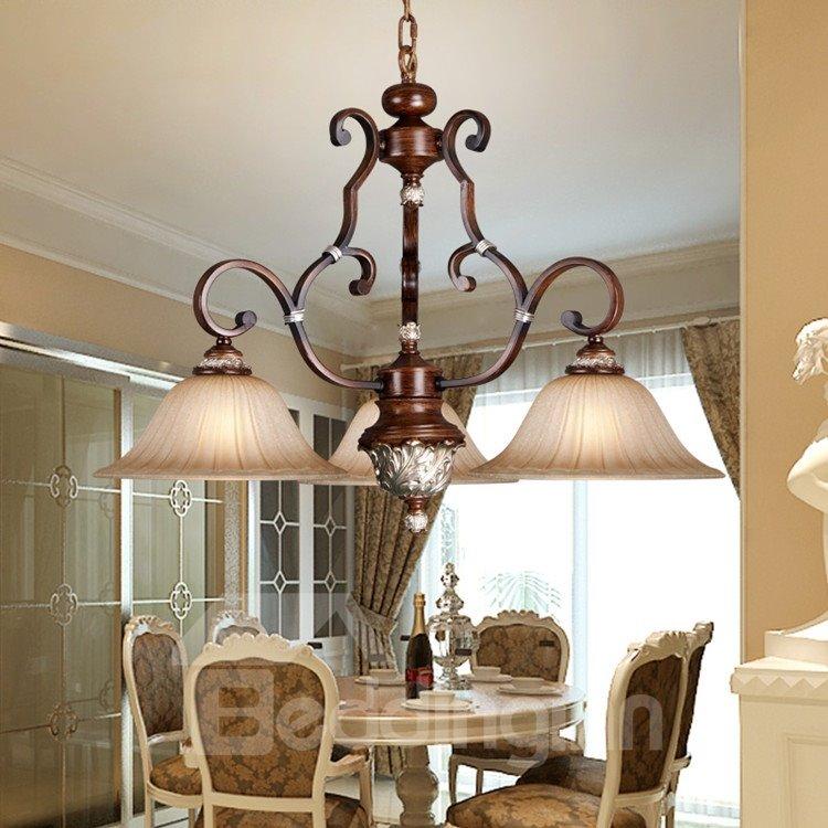 Amazing Antique Resin Iron Glass Shade 3 Lights Pendant