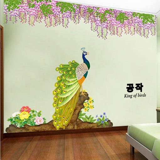 Amazing Peacock and Delicate Flowers Chinese Style Wall Stickers