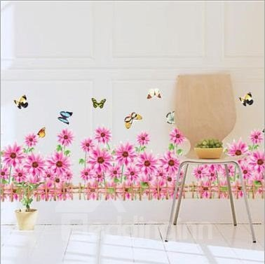 Simple Style Pink Sunflowers and Butterflies Toward Sunshine Wall Stickers