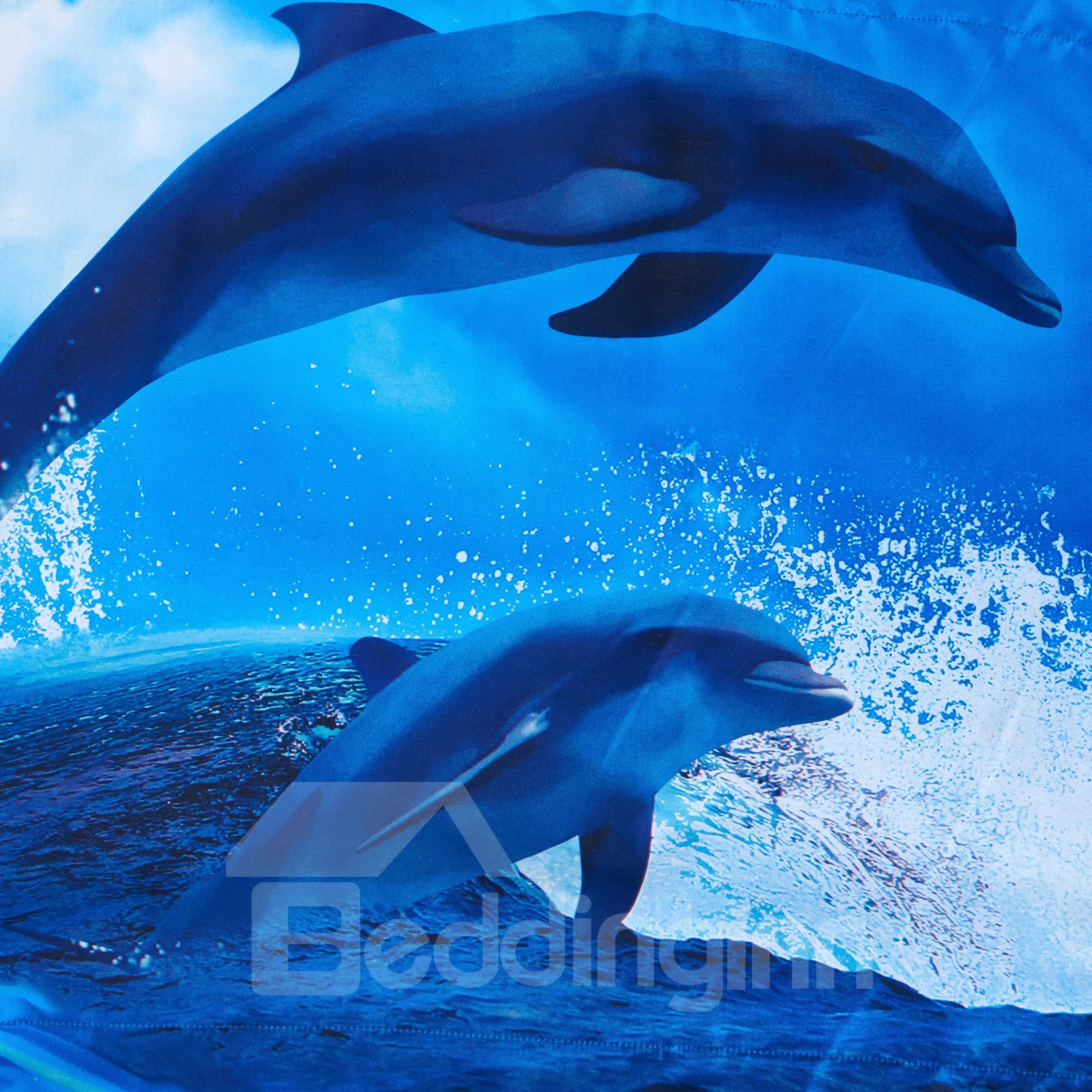Dolphins Jumping out of Blue Water Print Polyester 3D Bedding Sets