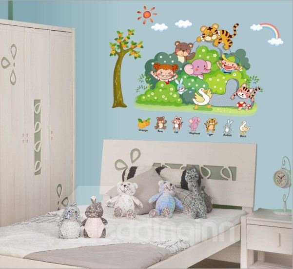 Cute Children Room Decoration Animal Sports Meeting in Forest Wall Stickers