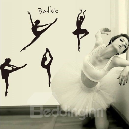 Gracious Black Ballet Girl Pattern Wall Stickers