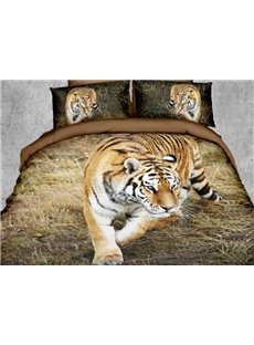 Domineering Tiger on the Grass Print Polyester 3D Bedding Sets