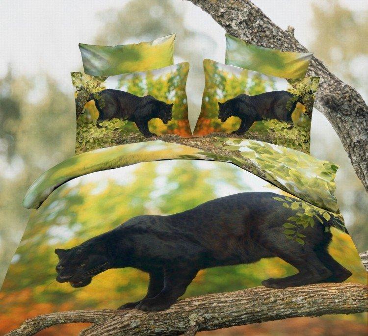 Black Leopard on the Trunk Print Polyester 3D Bedding Sets