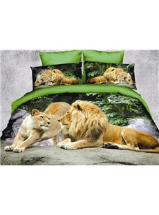 Crown Lion Couple Print Polyester 3D Bedding Sets