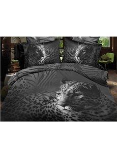 Black Close-Up Leopard Print Polyester 3D Bedding Sets