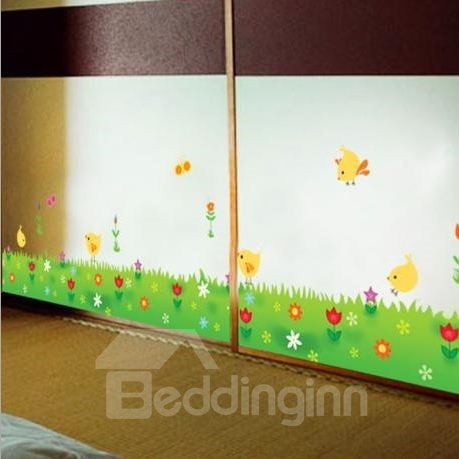 Poult on Green Grassland PVC Waterproof and Eco-friendly Removable Wall Stickers