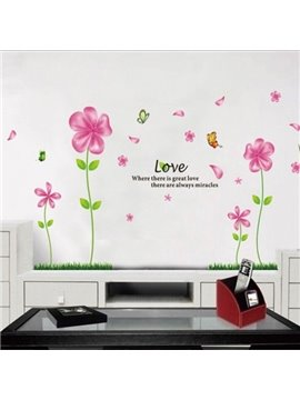 Natural Butterfly Flying over Fragrant Flowers Wall Stickers