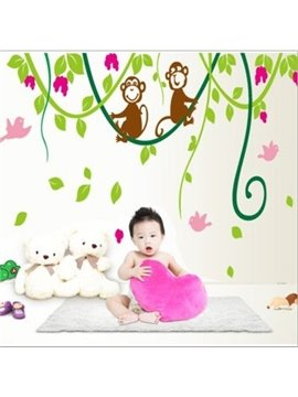 Cute Lovely Monkeys on Branches Pattern Removable Wall Stickers