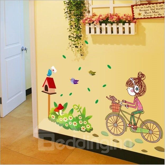 Lovely Cute Girl on Bike Pattern Home Decorative Removable Wall Stickers