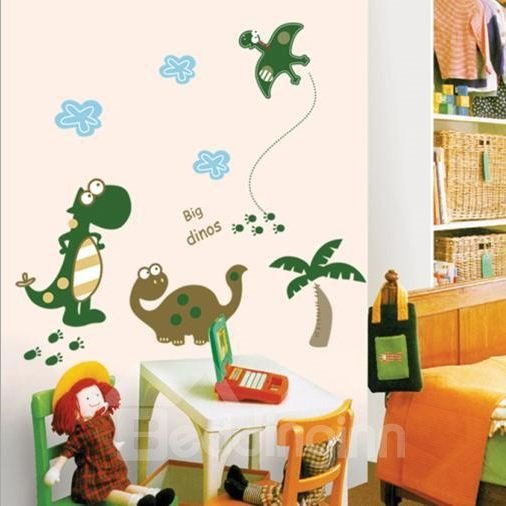 New Arrival Cartoon Happy Big Dinosaur Wall Stickers