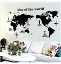 Unique Design Map of World Print Wall Stickers