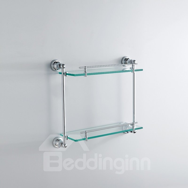 Chrome Finish Contemporary Style Wall Mounted Brass Doudle Layer Glass Shelf