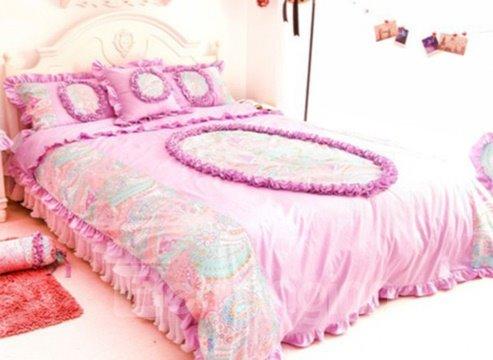 Sweet Color Lace Edge Floral Pattern Cotton Princess Duvet Cover Sets
