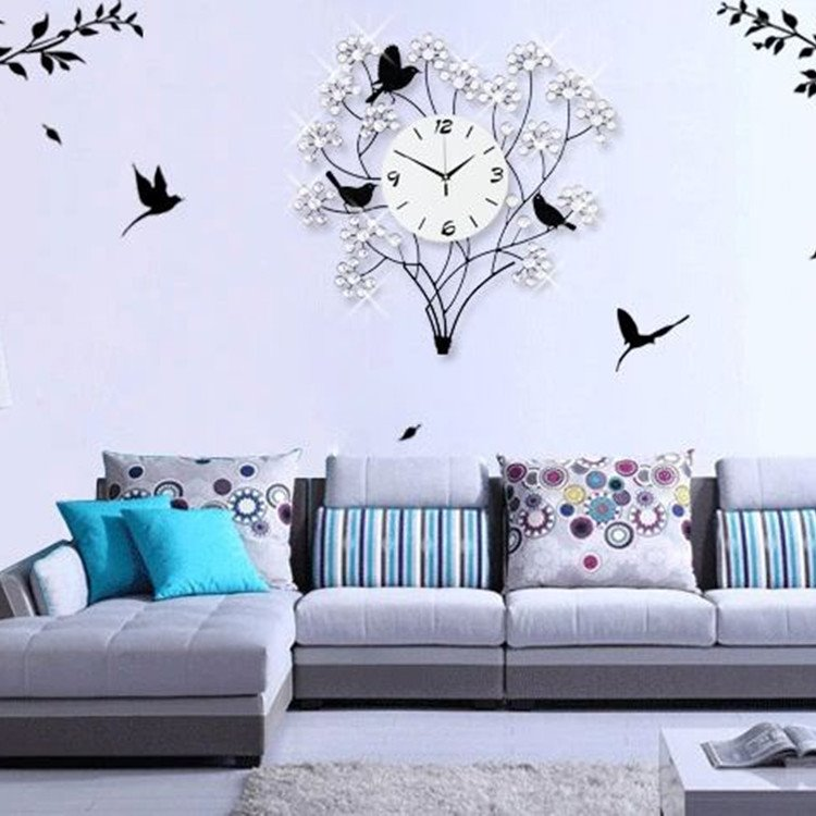 European Style Luxury Metal Birds on Tree Branch Shape Wall Clock
