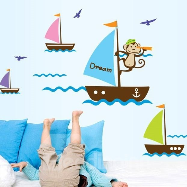 New Arrival Cute Monkey's Sailing Wall Stickers