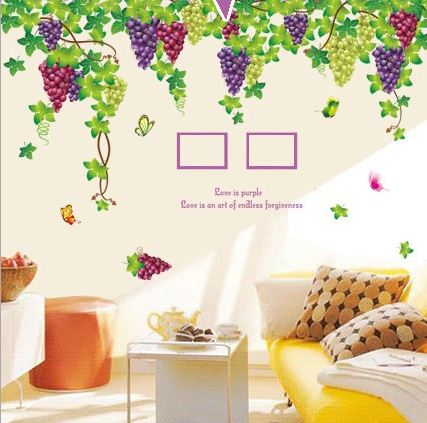 Simple Style Fresh Purple Grape and Photo Frame Pattern Wall Sticker
