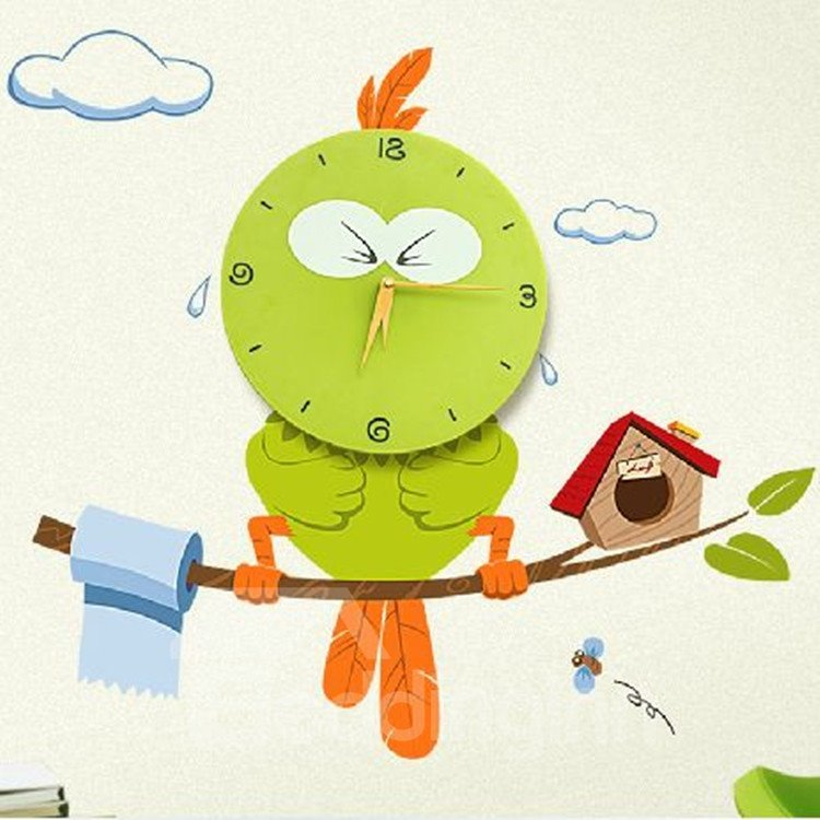 Attracting Green Cute Creative Owl Shape Home Decorative Wall Clock