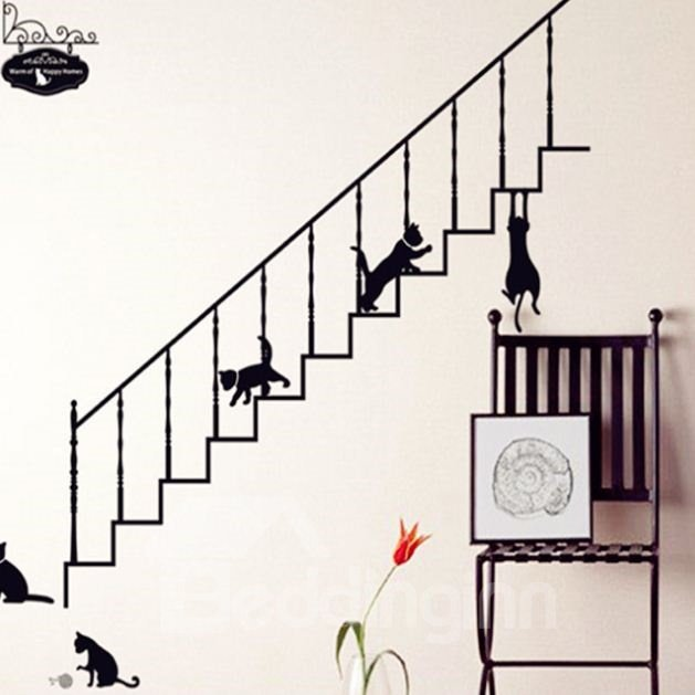 Lovely Black Cat and Ladder Home Decoration Wall Stickers