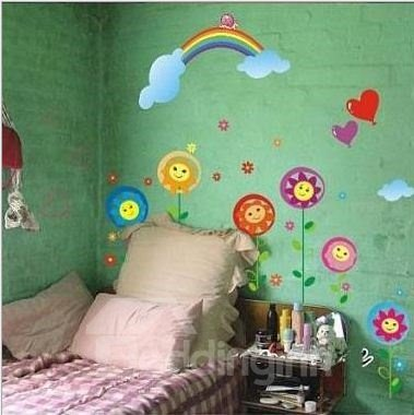 Cute Removable Sunflowers and Rainbow Pattern Wall Stickers