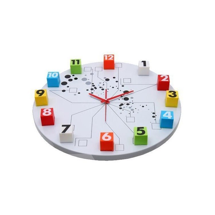 Amazing Fashionable Metal Colorful Numbers Wall Clock