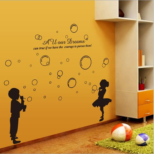 Cute Removable Boy and Girl Blowing Bubbles Wall Stickers