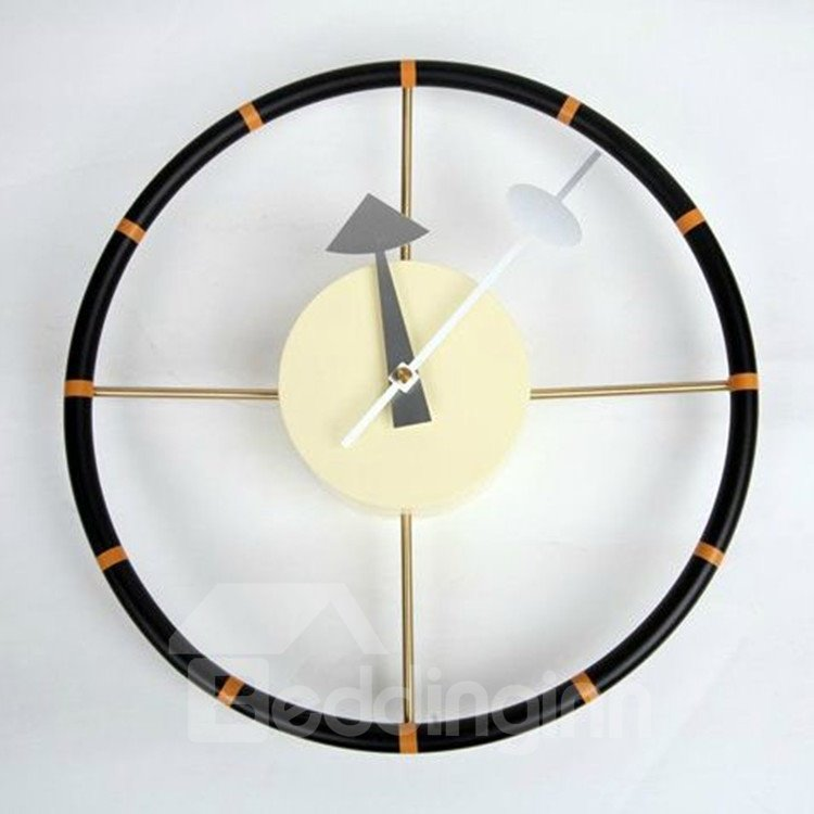 Allluring Fashionable Metal Steering Wheel Wall Clock