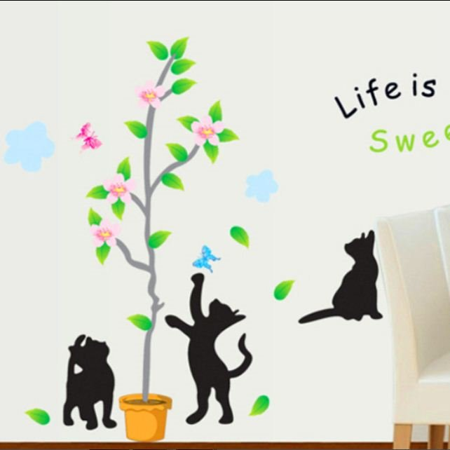 Decorative Life is Sweet Black Cat and Tree Pattern Wall Stickers